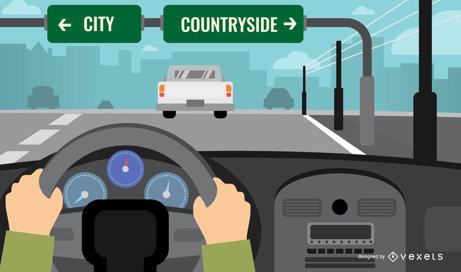 Conduciendo camino paisaje ilustración