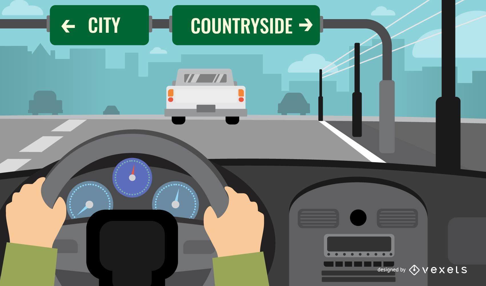 Driving Road Landscape Illustration