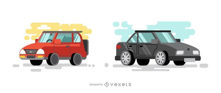 Ilustración de coches rojos y negros