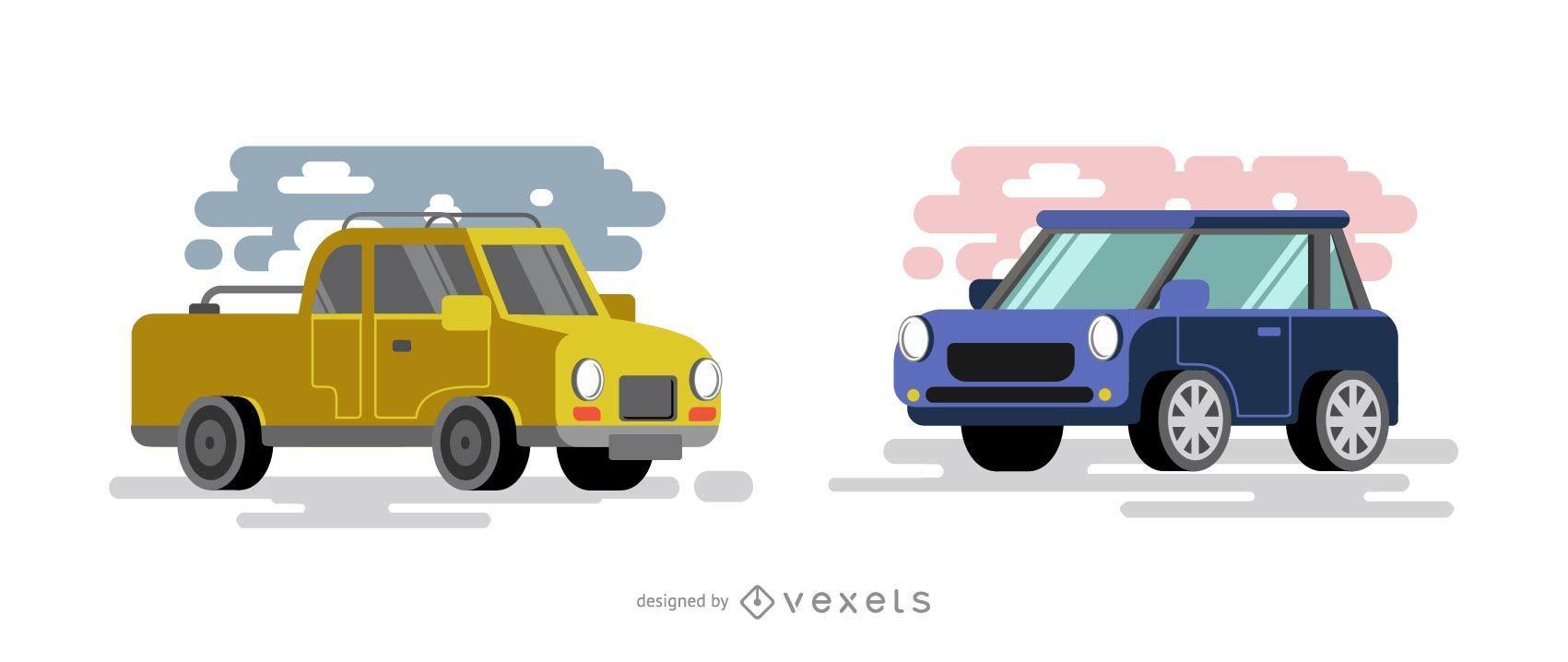 Ilustración de coches planos amarillos y azules