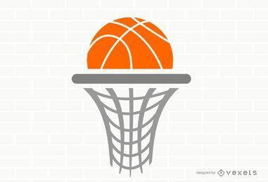Plantilla de logotipo de aro de baloncesto plana