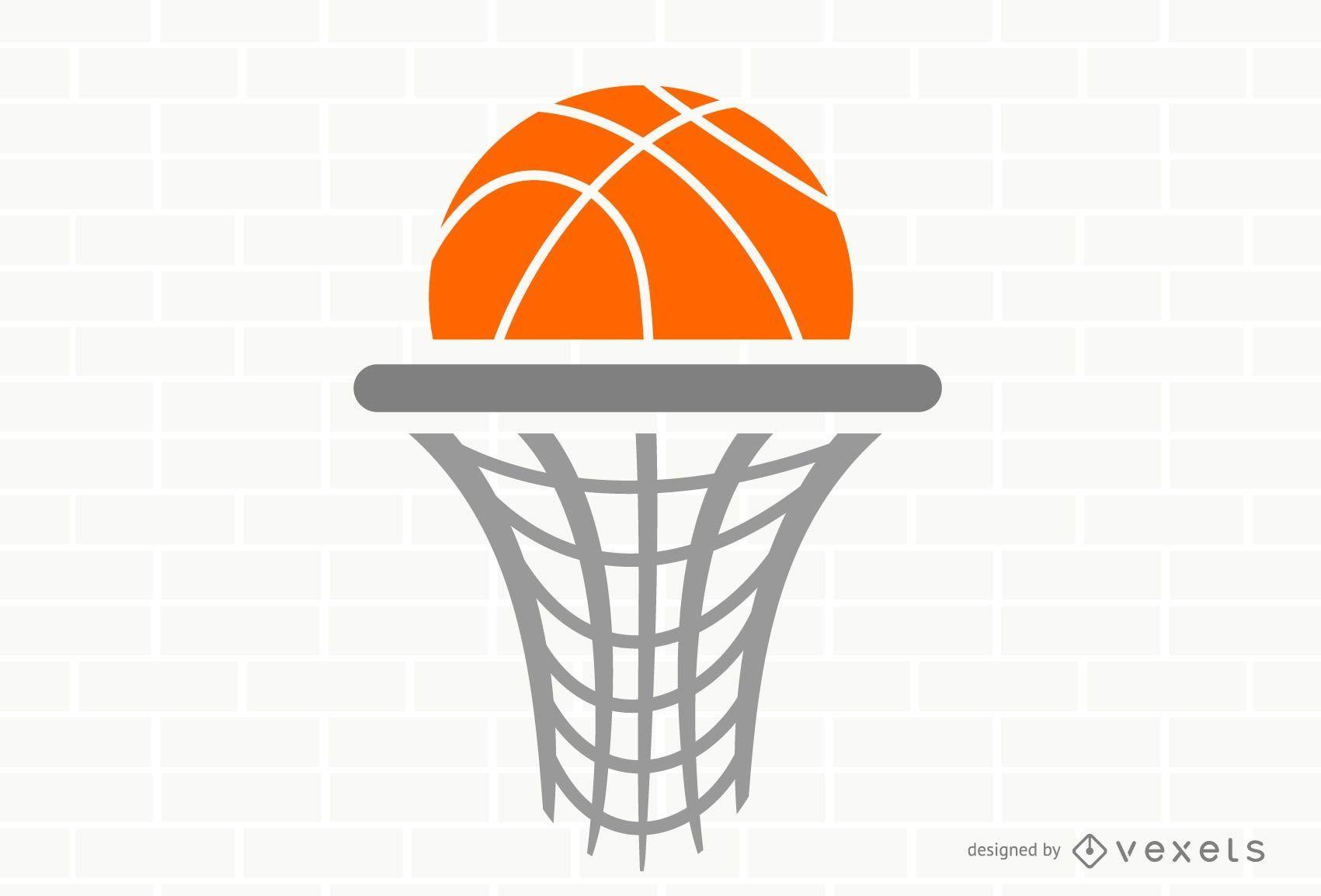 Modelo de logotipo da cesta de basquete plana