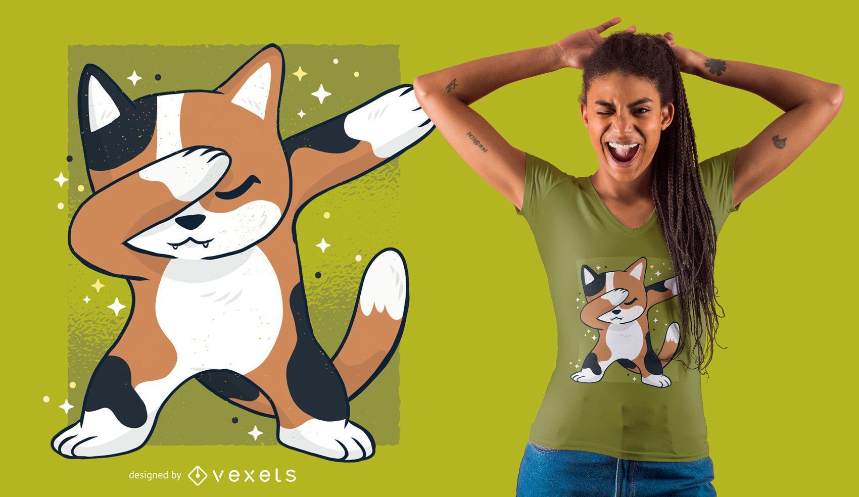 Cute Cat Dab T-shirt Design