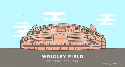 Wrigley Field baseball stadium illustration