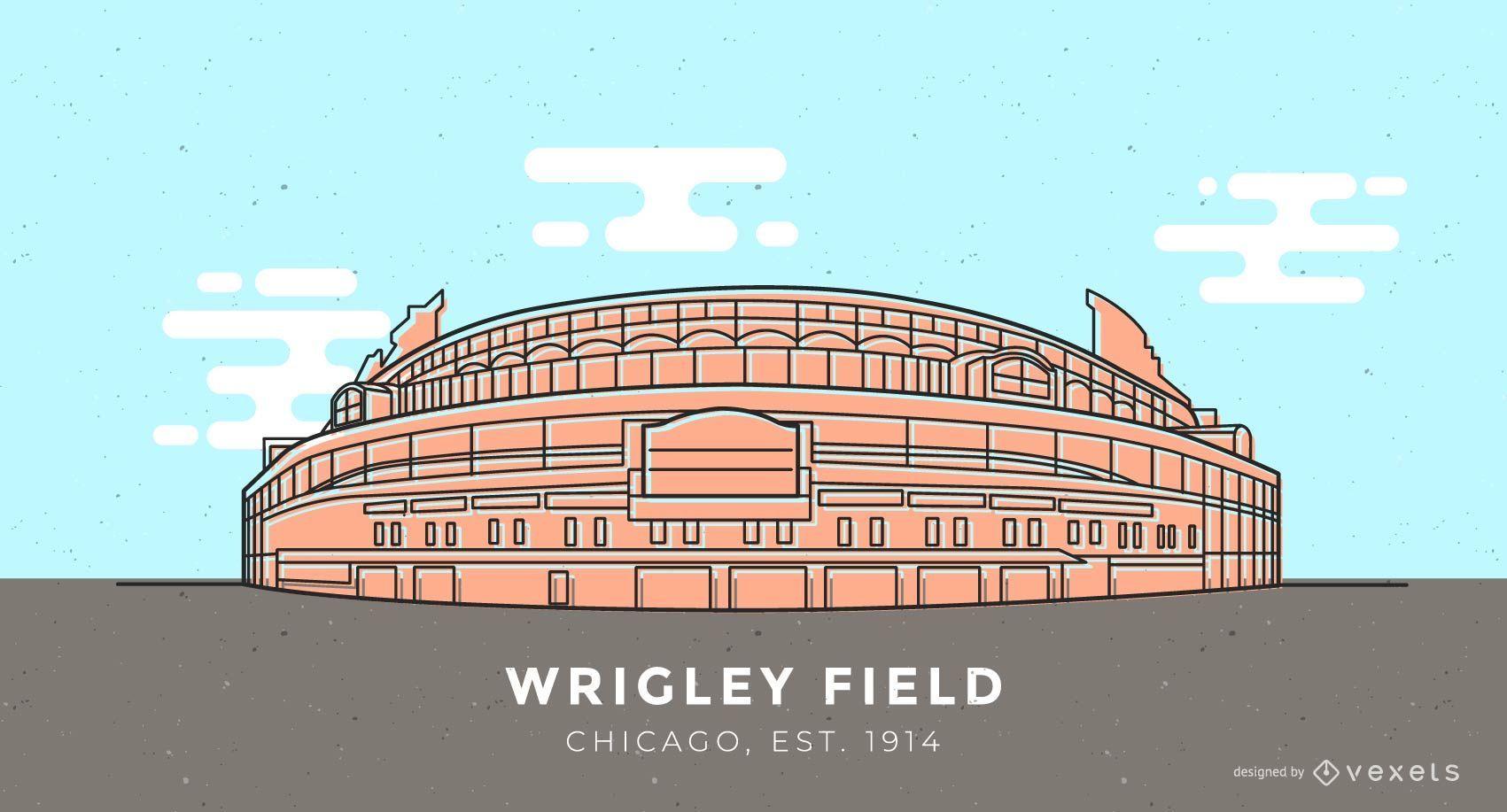 Ilustração do estádio de beisebol Wrigley Field