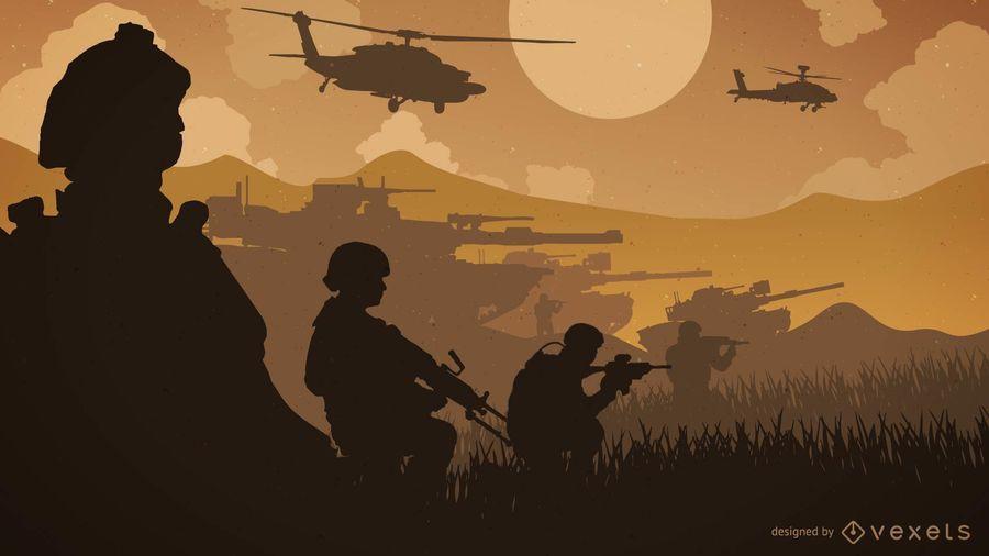 Ilustração de silhueta de linha de frente de guerra