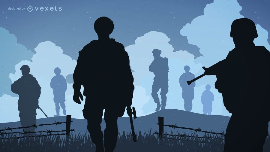 Silhuetas de guerra de soldado