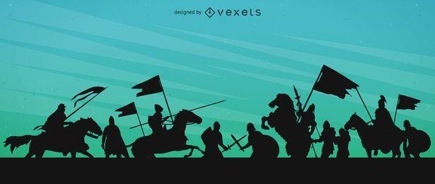 Ilustración de silueta de guerra medieval