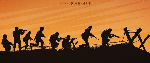 Soldados guerra frente silueta diseño