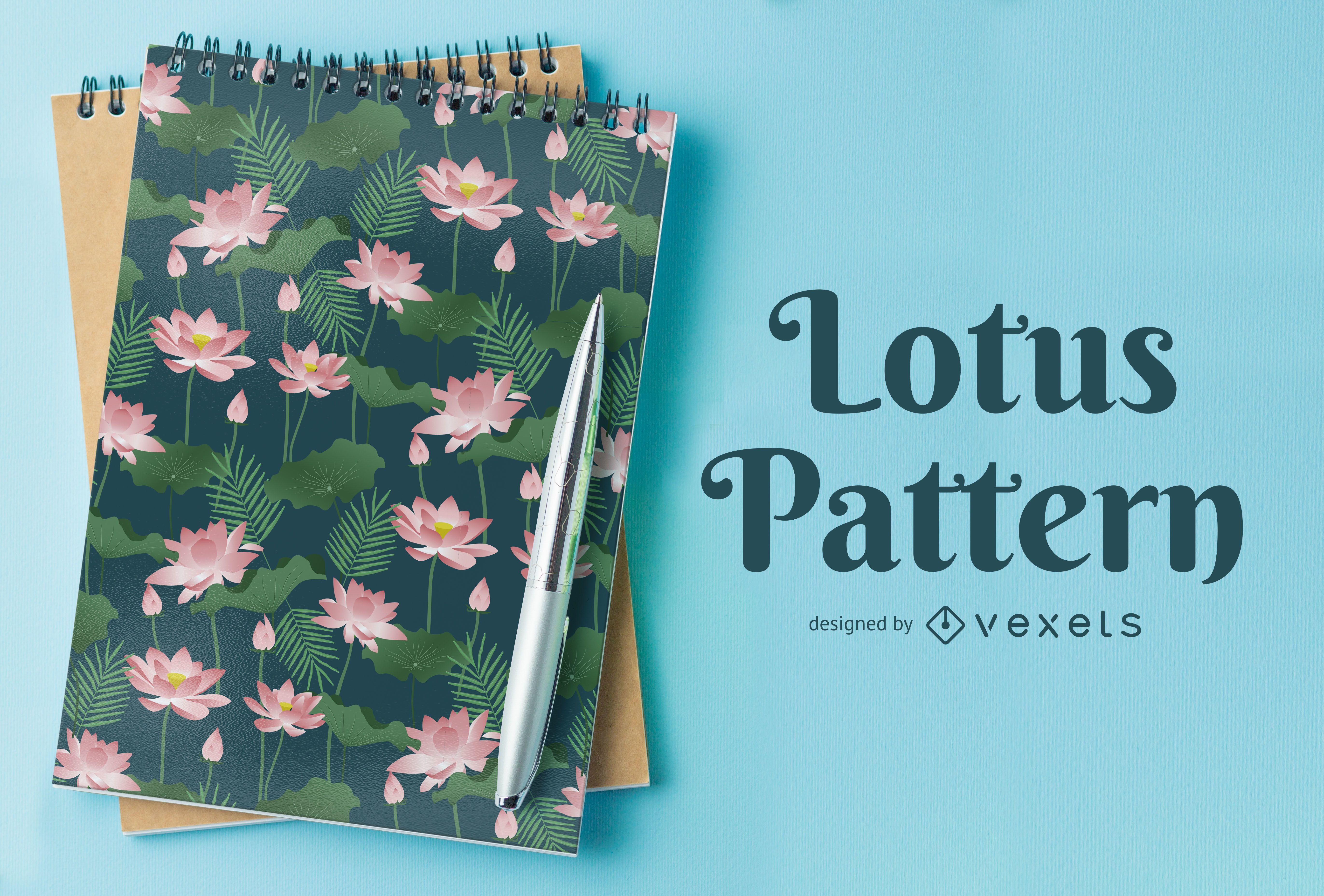 Lotus Illustration seamless Pattern