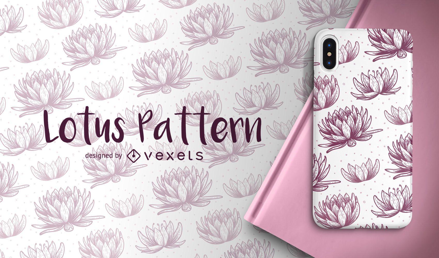 Hand drawn lotus pattern