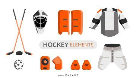 Conjunto de ilustración de elementos de hockey