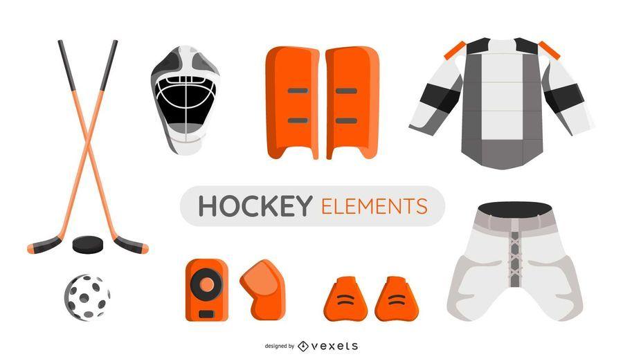 Hockey elements illustration set