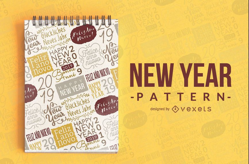 Seamless New Year 2019 Pattern