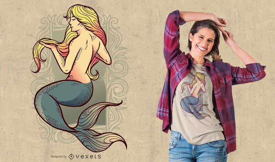 Diseño de camiseta con ilustración de sirena
