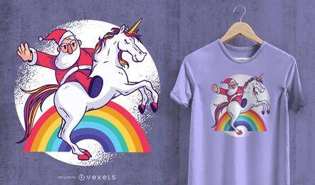 Projeto do t-shirt do unicórnio de Santa