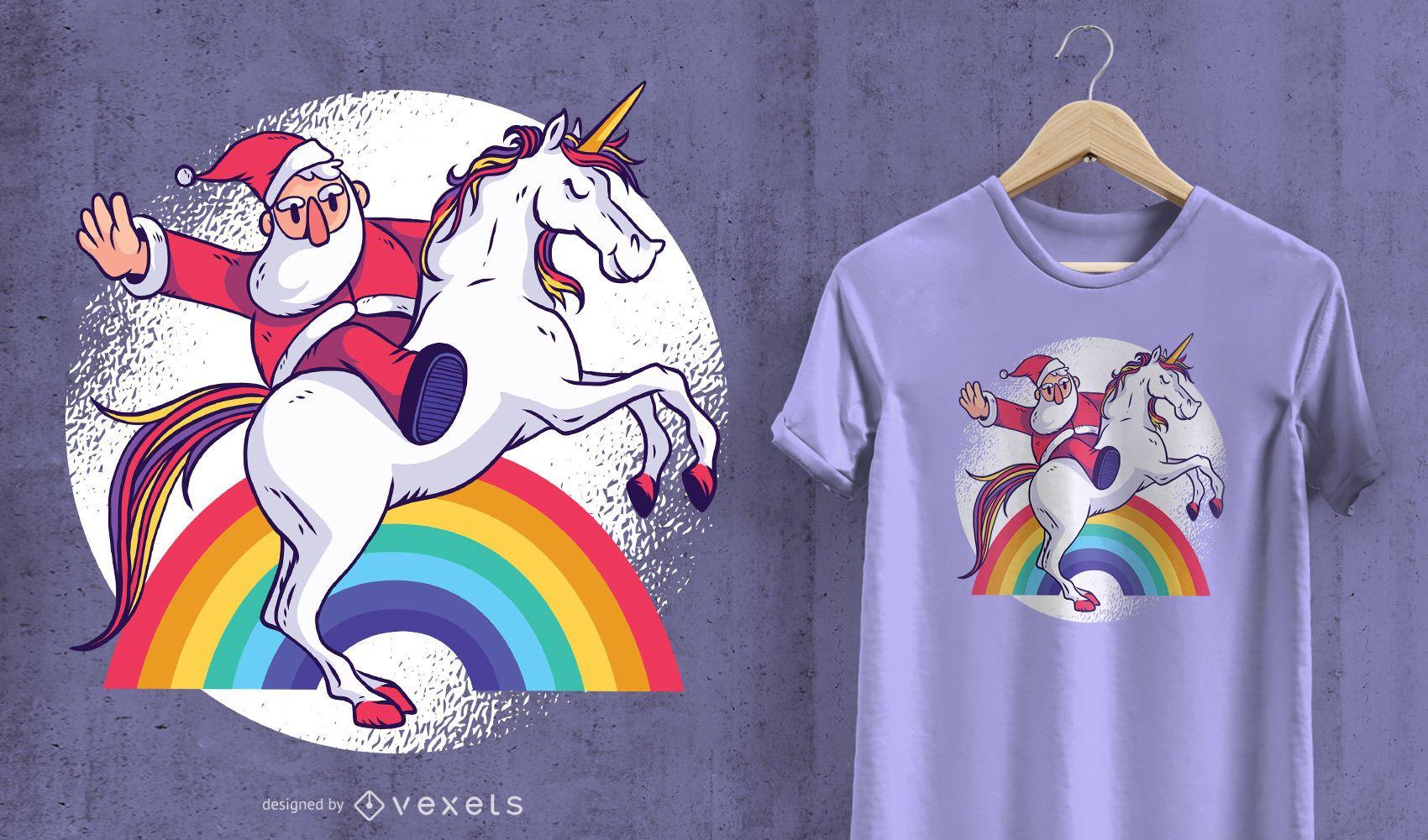Design de camisetas do Santa Unicorn
