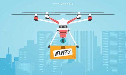 Ilustración de entrega drone plana