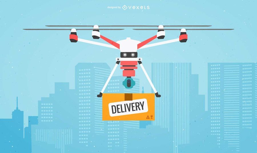 Flat drone delivery illustration