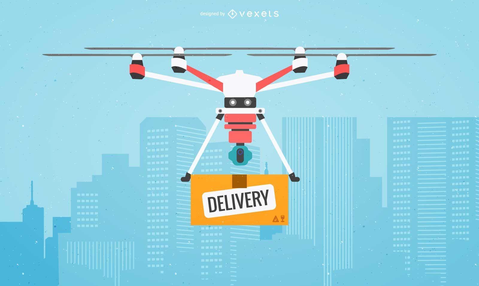 Ilustración de entrega de drones planos