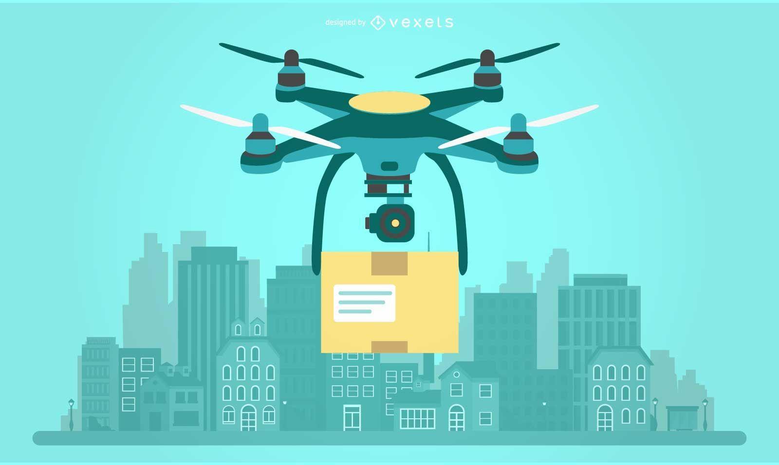 Ilustración de drone de entrega
