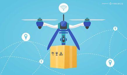 Diseño plano ilustración de entrega drone
