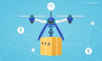 Flat design drone delivery illustration