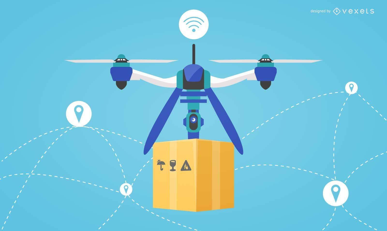 Flat design drone delivery illustration