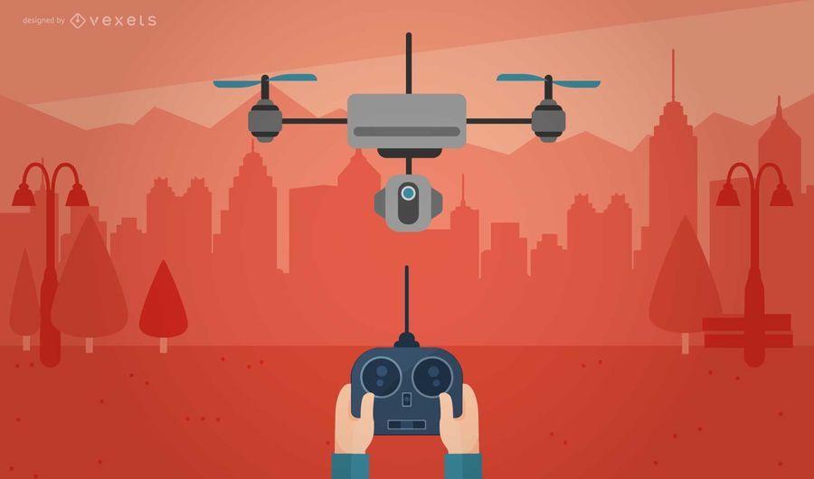 Ilustración de drone remoto