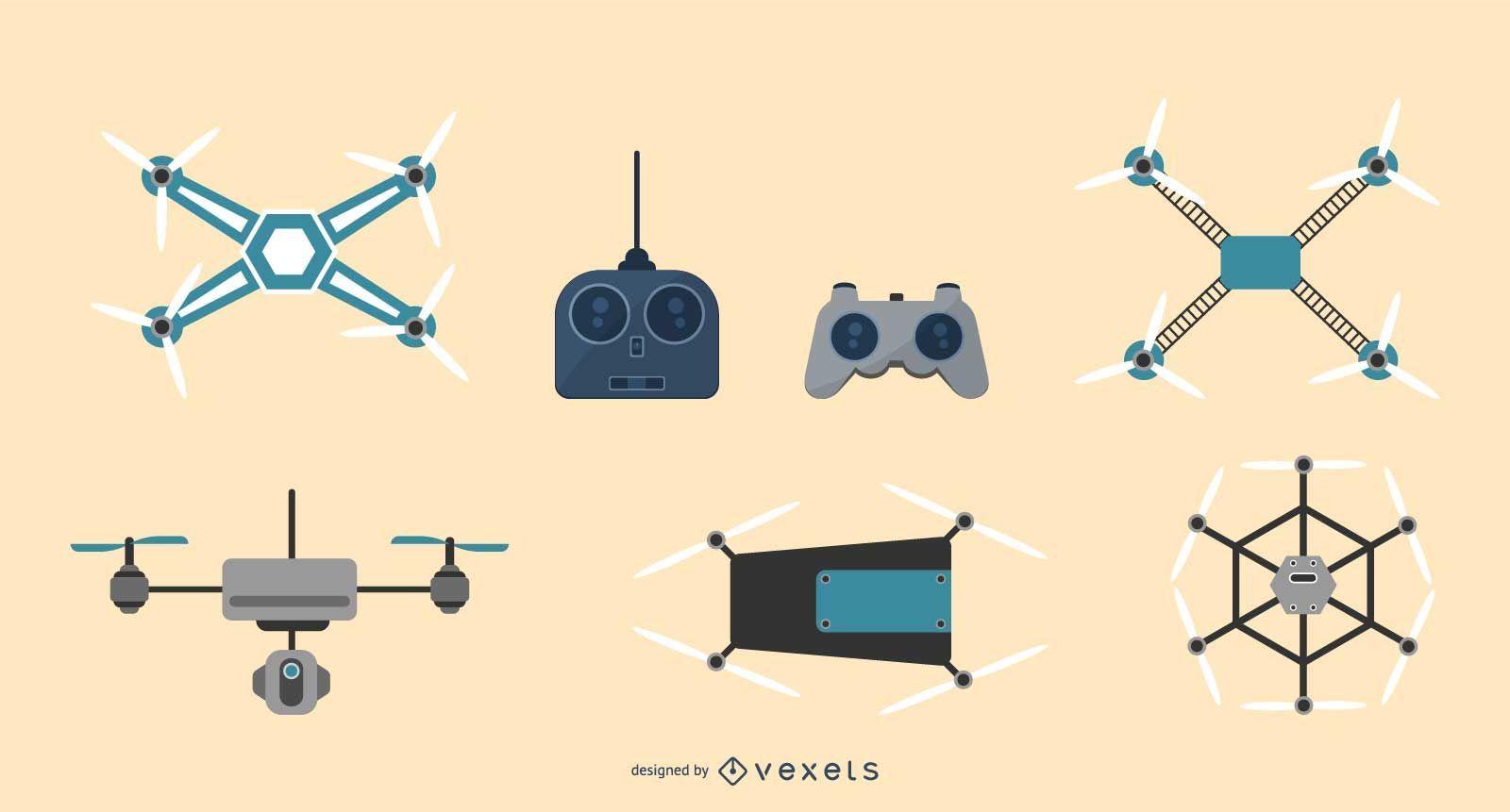 Conjunto de ilustración de tecnología de drones