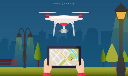Ilustración de ubicación de mapa de Drone