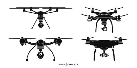 Conjunto de silueta de drone