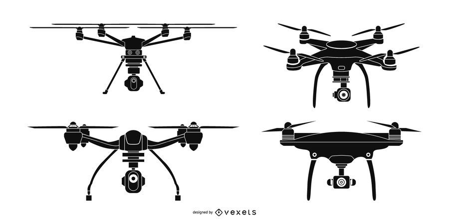 Drone silhouette set