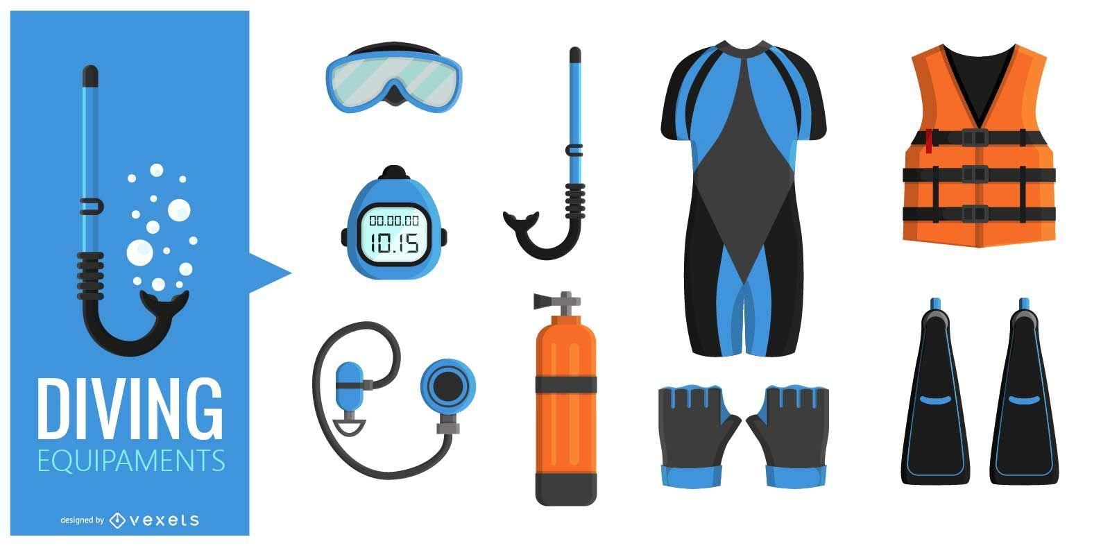 Conjunto de ilustración de equipo de buceo
