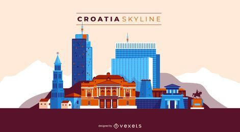 Croatia skyline illustration