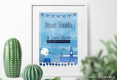 Flat Christening invitation design