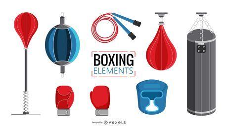 Conjunto de ilustración de elementos de boxeo