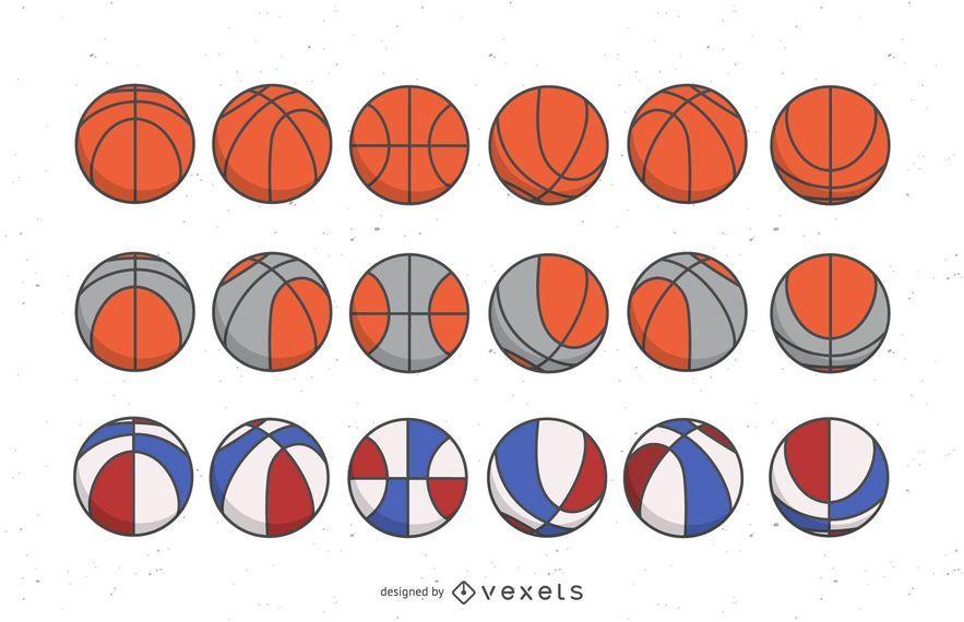 Conjunto de bolas de basquete colorido