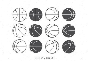 Basketball balls flat set