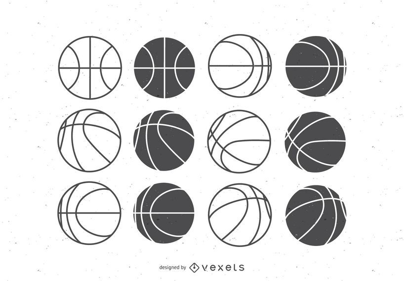 Basketball balls flat set