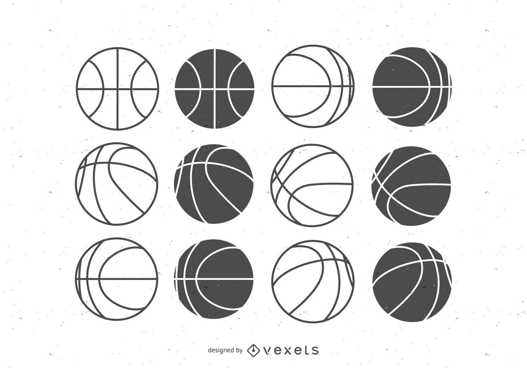 fcfa65c1a02 Balones de baloncesto set planos - Descargar vector