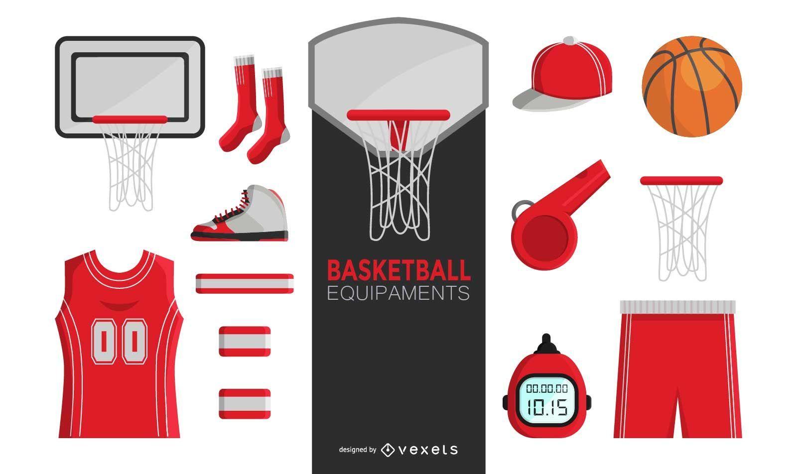 Basketball elements set