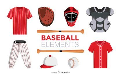 Baseball design elements set