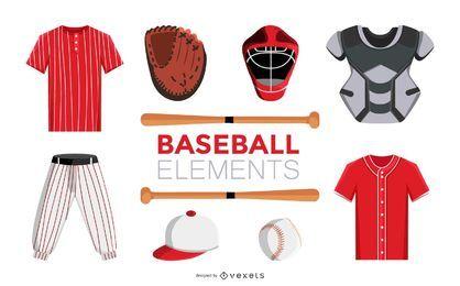 Conjunto de elementos de design de beisebol