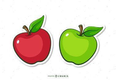 Dibujos animados de manzana roja y verde