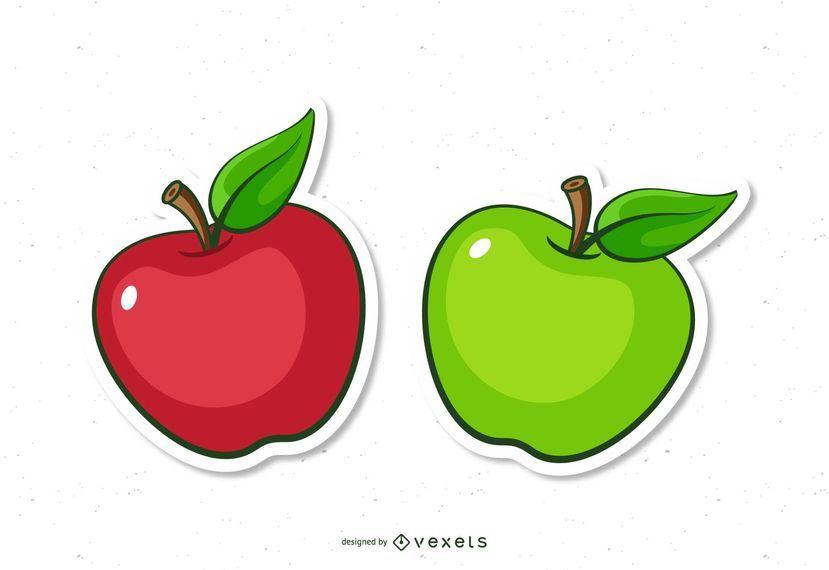 Rote und grüne Apfelkarikaturen