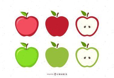Conjunto de ilustración de manzana