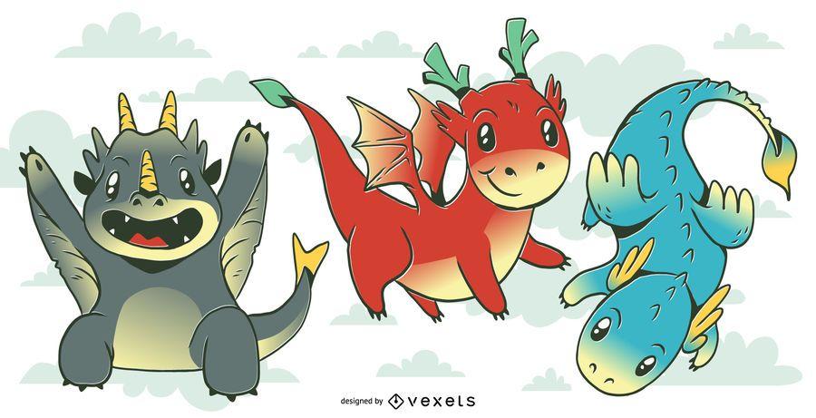 Conjunto de ilustración de bebé dragón