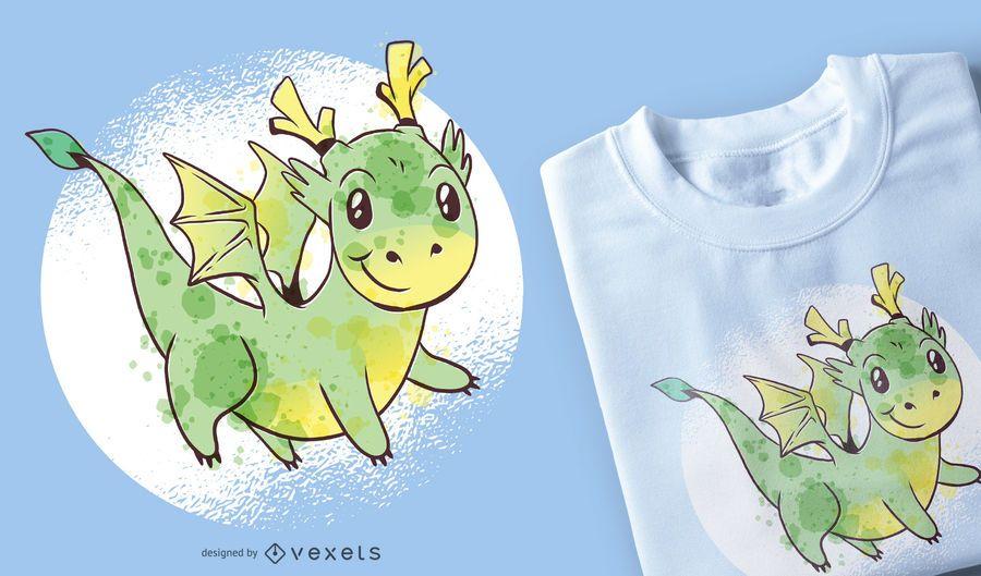 Diseño lindo de la camiseta del dragón