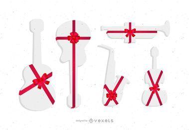 Set de regalos de instrumentos de silhouttes